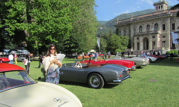 The cars leave Villa d'Este early Sunday morning to line up here, on the lawn at Villa Erba.