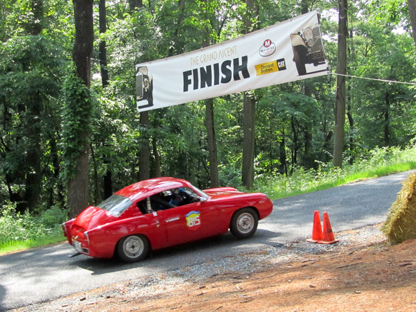 Joe Parlanti at the Finish after a climb in his 1959 Abarth Zagato 750 Double Bubble.