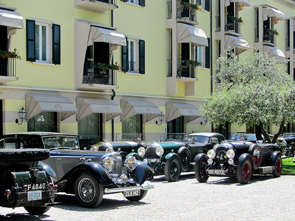 The Bentley Driver's Club in Sirmione, a favorite stop for car club rallies during the Mille Miglia.