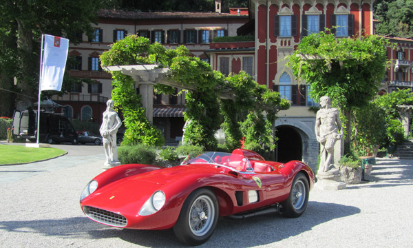 From the Mille Miglia two weeks prior to the Concorso, the 1957 Ferrari 500 TRC, Spider, Scaglietti is stunning, in front of Villa d'Este.
