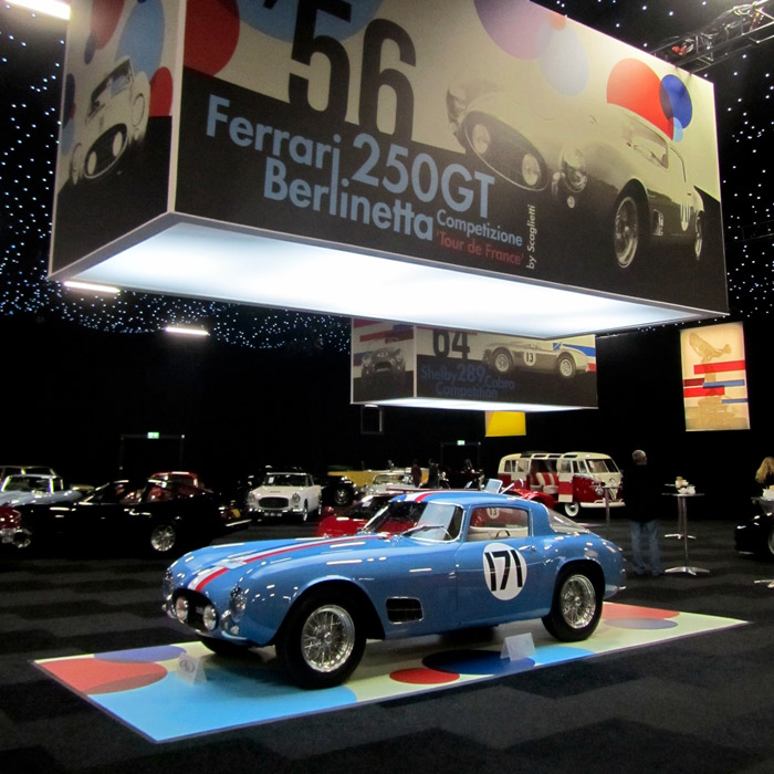 Sitting pretty among the sparkling lights, the 1956 Ferrari 250 GT Berlinetta Competizione 'Tour de France' took the highest hammer price of the night.