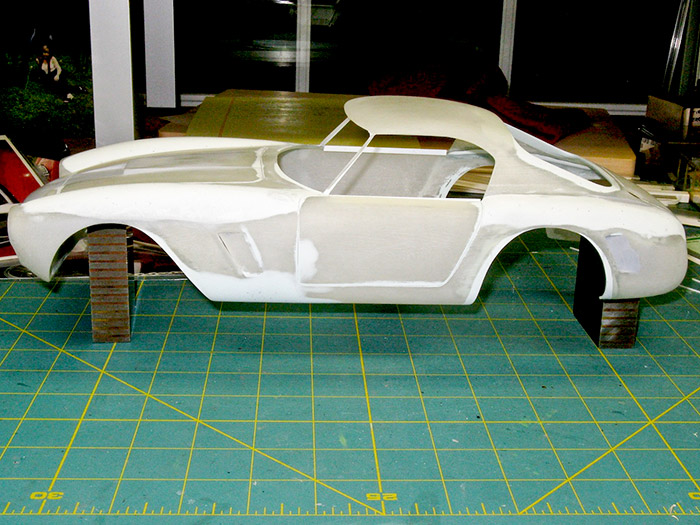 The reshaped body ready for primer to check overall shape, and any areas needing more adjustment.