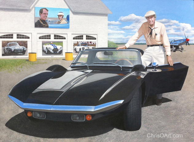 Artist Chris Osborne painting of the driving legend John Fitch and his Fitch Phoenix.