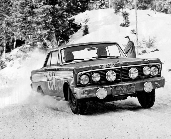 Denise McCluggage and Anne Hall in the Ford Falcon -- Monte Carlo Rally