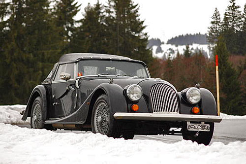 Morgan Plus Four in Snow.