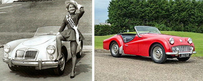 Vintage MGA photo and TR3 image