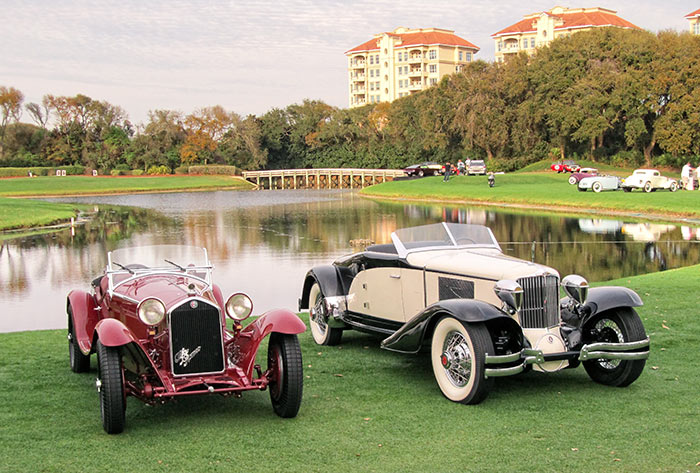 1932 Alfa Romeo 8-c 2300 Zagato Spider and 1930 Cord L29 Brooks Stevens Speedster, by Sandy Cotterman, Amelia Island Concours
