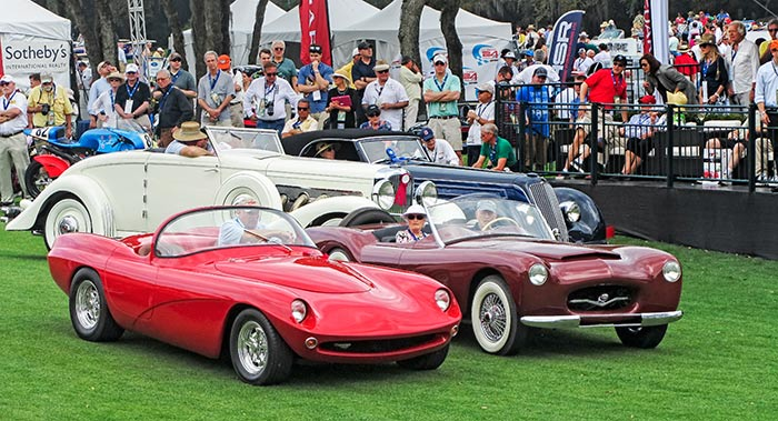 1954 Woodill Wildfire Series II with the red 1964 LaDawri Daytona, by Sandy Cotterman, Amelia Island Concours