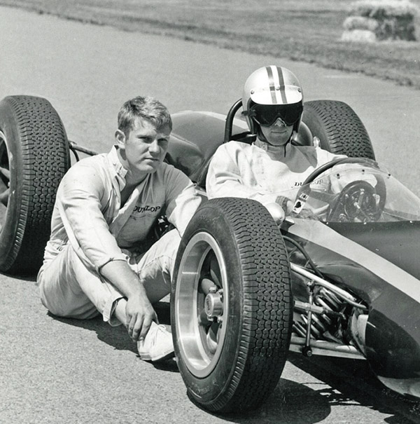 Tyler Alexander with Timmy Mayer on the grid at Teretonga, New Zealand, during the 1964 Tasman Series.