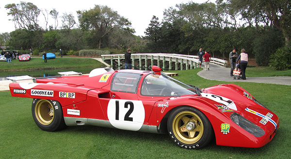The Chairman's Choice Award and Most Historically Significant Race Car Driven by Sam Posey, the 1971 Ferrari 512 M