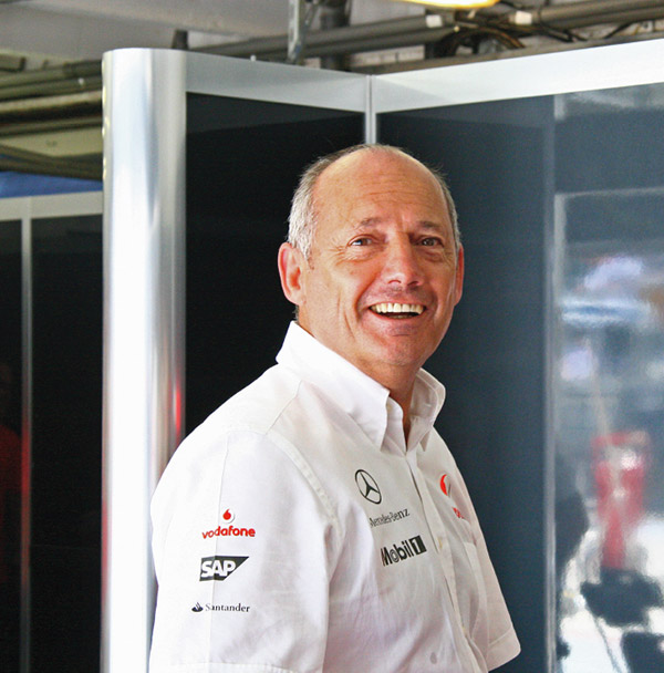 "McLaren team principal Ron Dennis with that ""We've just won"" look on his face after Heikki Kovalainen's victory at the 2008 Hungarian Grand Prix."