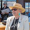 Denise McCluggage overlooking her beloved Santa Fe Concorso, from the Las Campanas Clubhouse